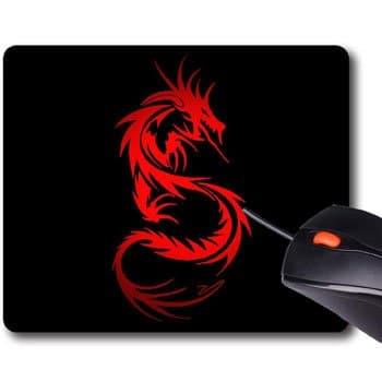 Tapis de souris Dragon tribal rouge 22 x 18 cm