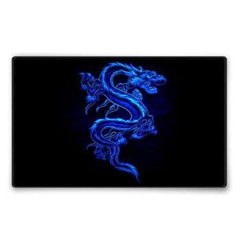 Tapis de souris Dragon chinois bleu taille moyenne 36 x 25 cm