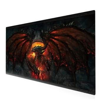 Tapis de souris pour gamers Dragon de feu XXL 90 x 40 cm