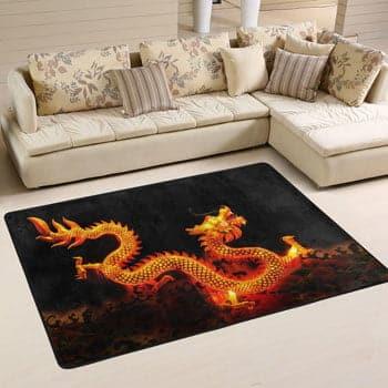 Tapis Dragon chinois flamboyant dans une posture traditionnelle 150 x 80 cm