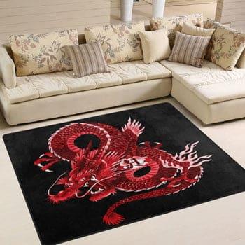 Tapis Dragon asiatique rouge avec idéogramme 160 x 122 cm