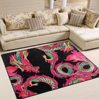 Tapis Dragon asiatique motifs traditionnels et colorés 160 x 122 cm