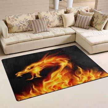 Tapis Esprit du Dragon de feu sortant des flammes 150 x 100 cm