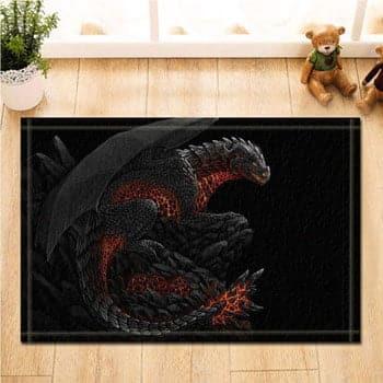 Tapis Dragon de feu Fantasy guettant les intrus 80 x 50 cm