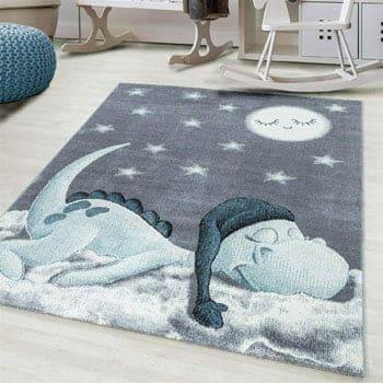 Tapis Enfant Dragon dormant sur un nuage au clair de lune 230 x 160 cm