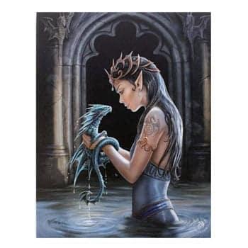 """Tableau sur toile Bébé Dragon d'eau & Elfe """"Water Dragon""""- Design officiel Anne Stokes"""
