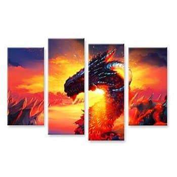 Impression sur toile 4 pièces Dragon Fantasy sur fond de soleil couchant