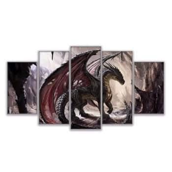 Impression sur toile 5 pièces Dragon Fantasy dans une grotte