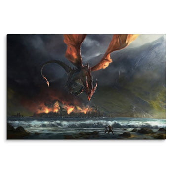 Impression sur toile Dragon Smaug brûlant Lacville - The Hobbit J.R.R Tolkien