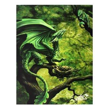 """Toile tendue Maman Dragon des Forêts avec son petit """"Forest Dragon"""" - Design officiel Anne Stokes"""
