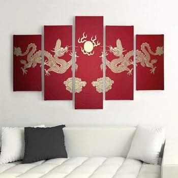 Impression sur toile 5 pièces Dragons asiatiques or sur fond rouge